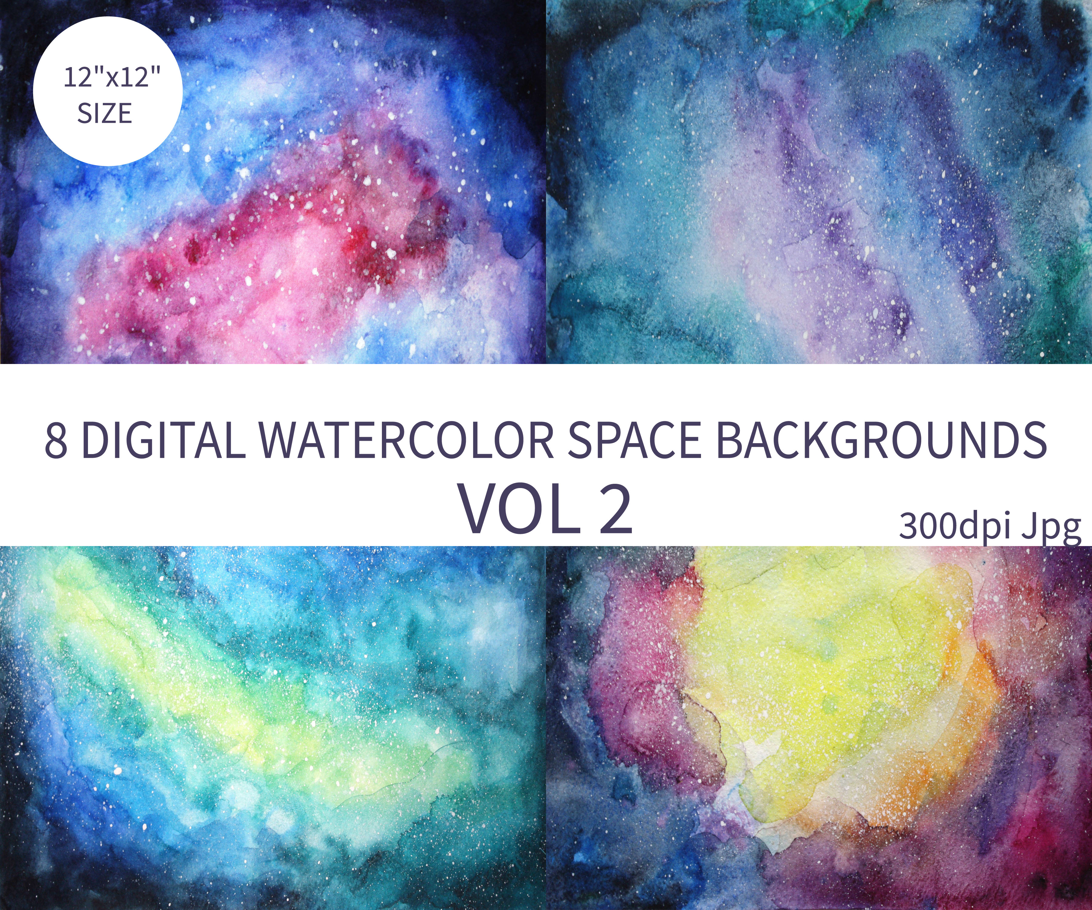 Watercolor Space Background example image 3