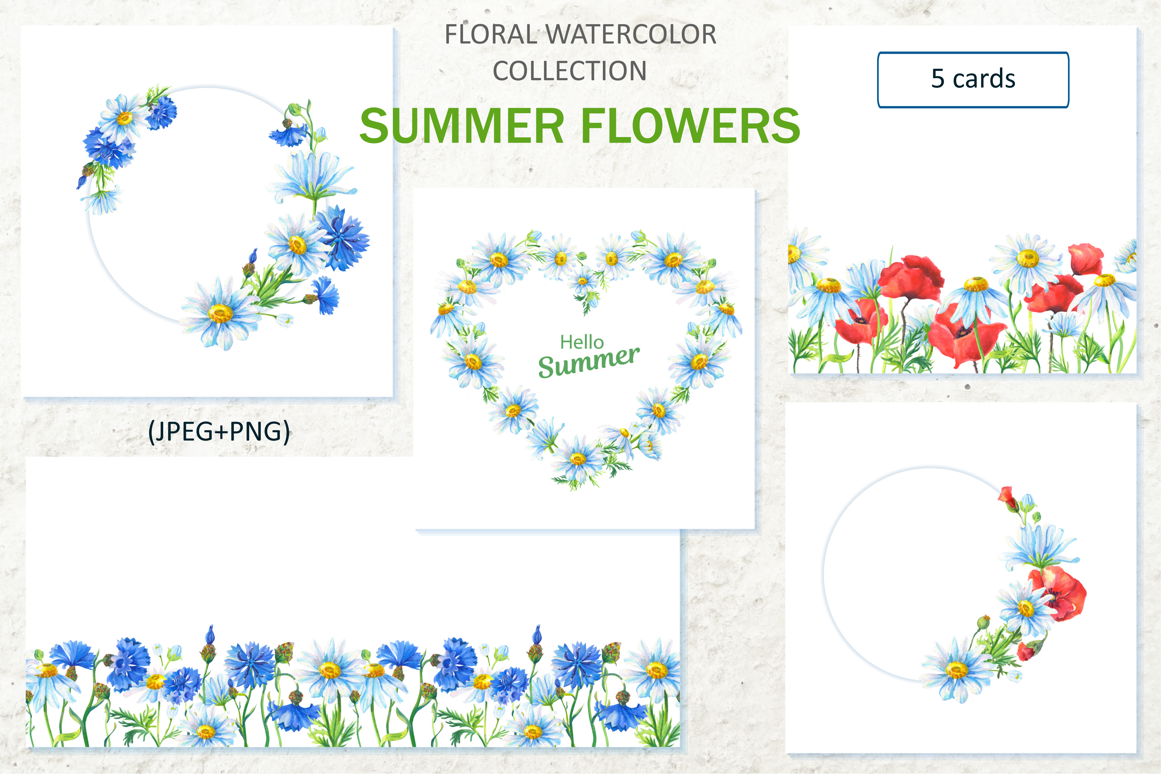 SUMMER FLOWERS.WATERCOLOR. example image 4