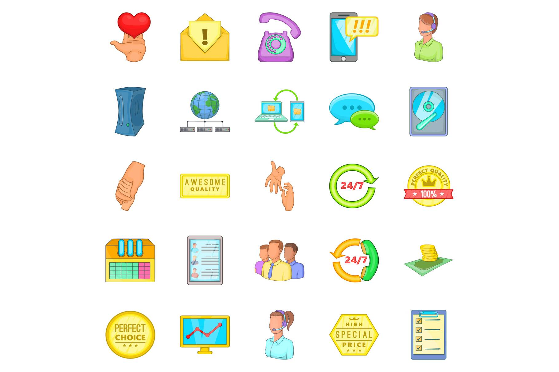 Client icons set, cartoon style example image 1