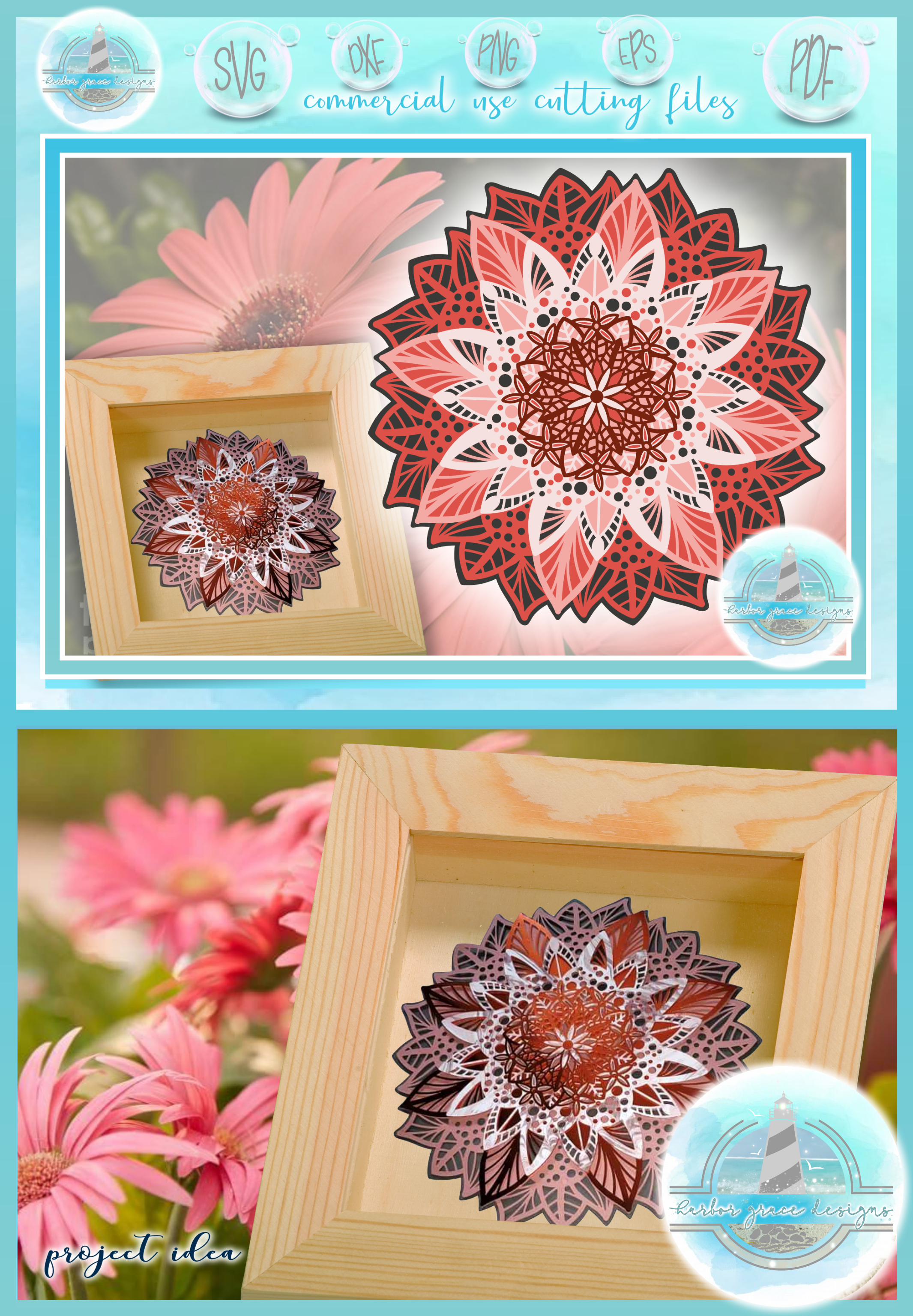 Vintage Mandala Flower Stamps Back To School Card Making crafts and scrapbooking