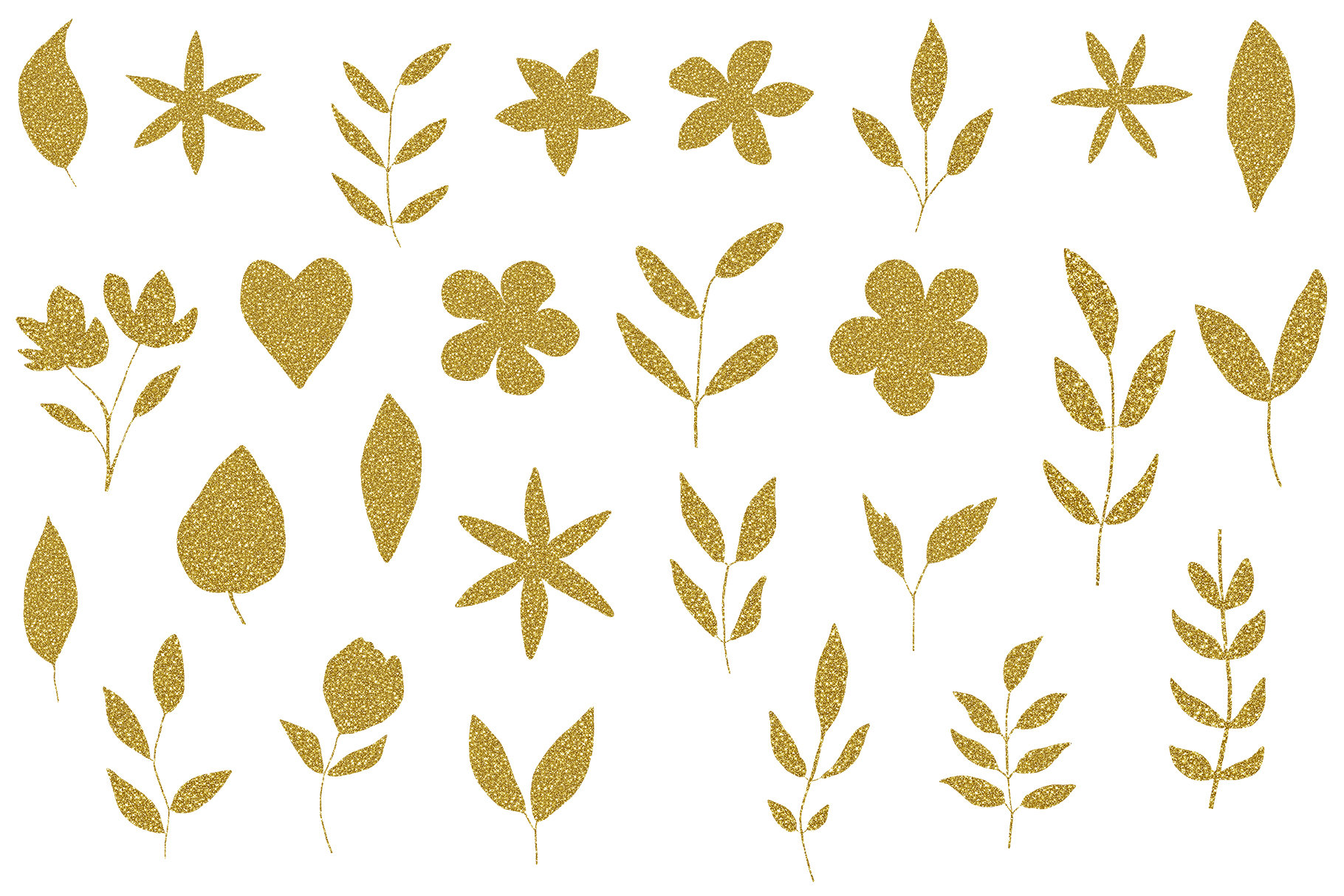 Gold Glitter leaves clipart, Floral Glitter Clipart example image 2