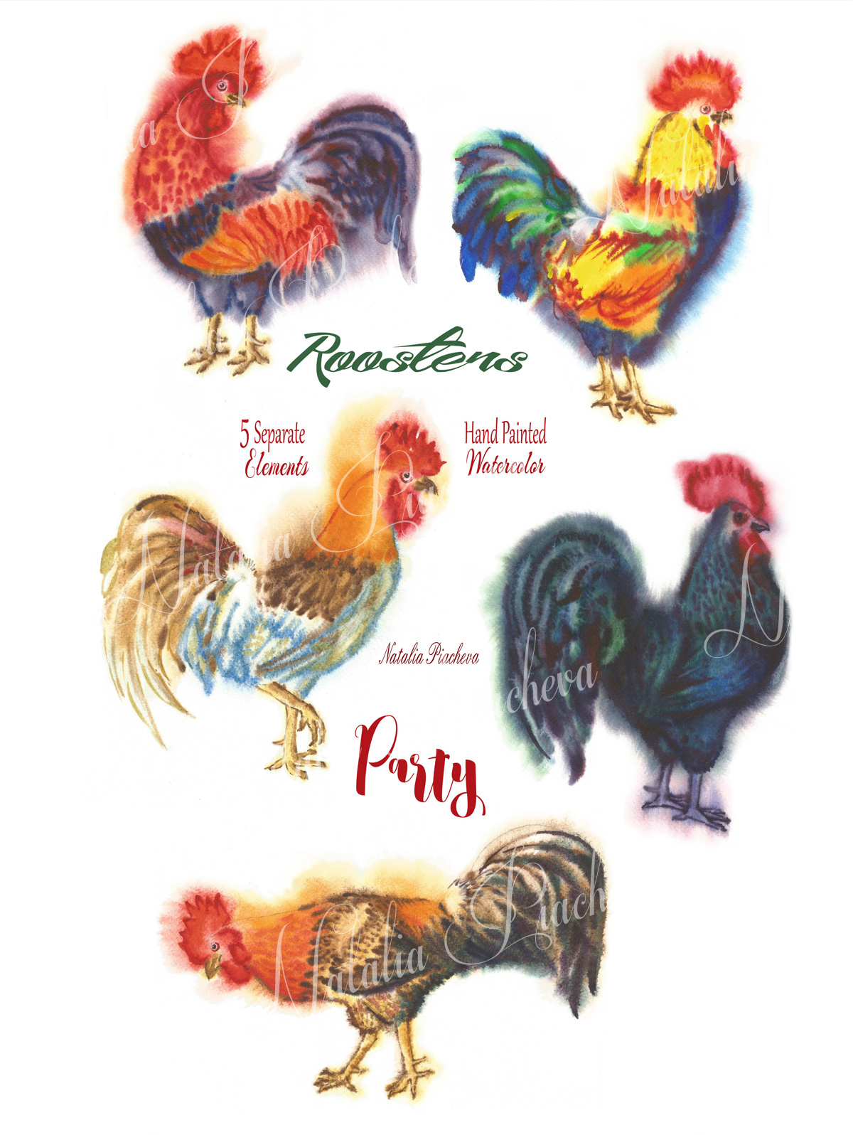 Watercolor Roosters example image 2
