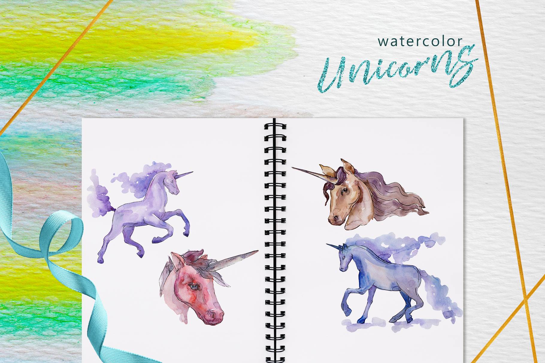 Unicorn Masterpiece Watercolor png example image 5