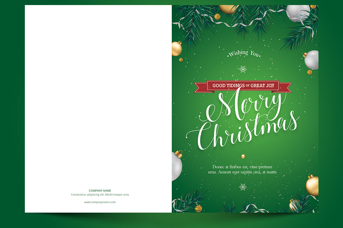 Green Christmas Greeting Card Template example image 4