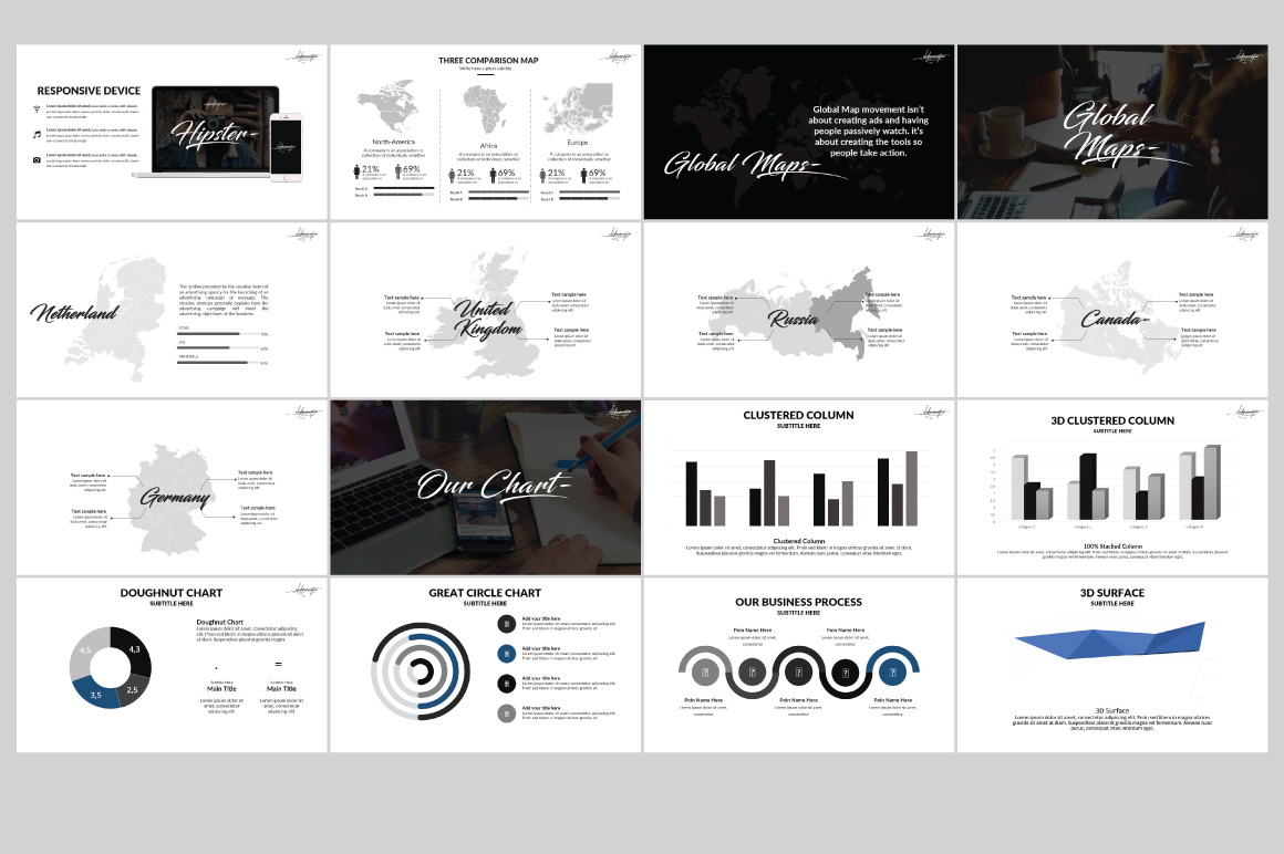 Hipster v.2 Powerpoint Template example image 8