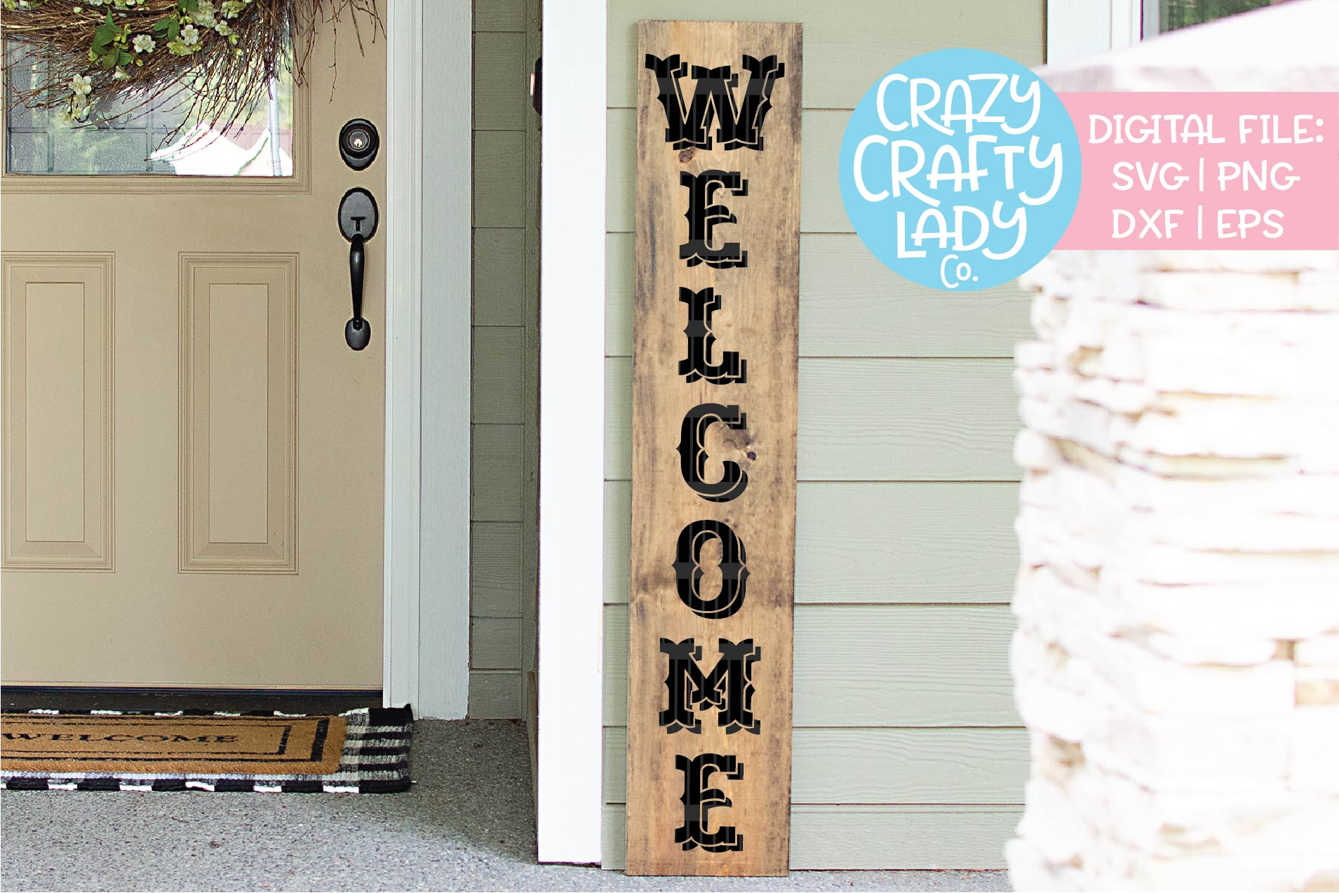 Welcome Porch Sign SVG DXF EPS PNG Cut File Bundle example image 5