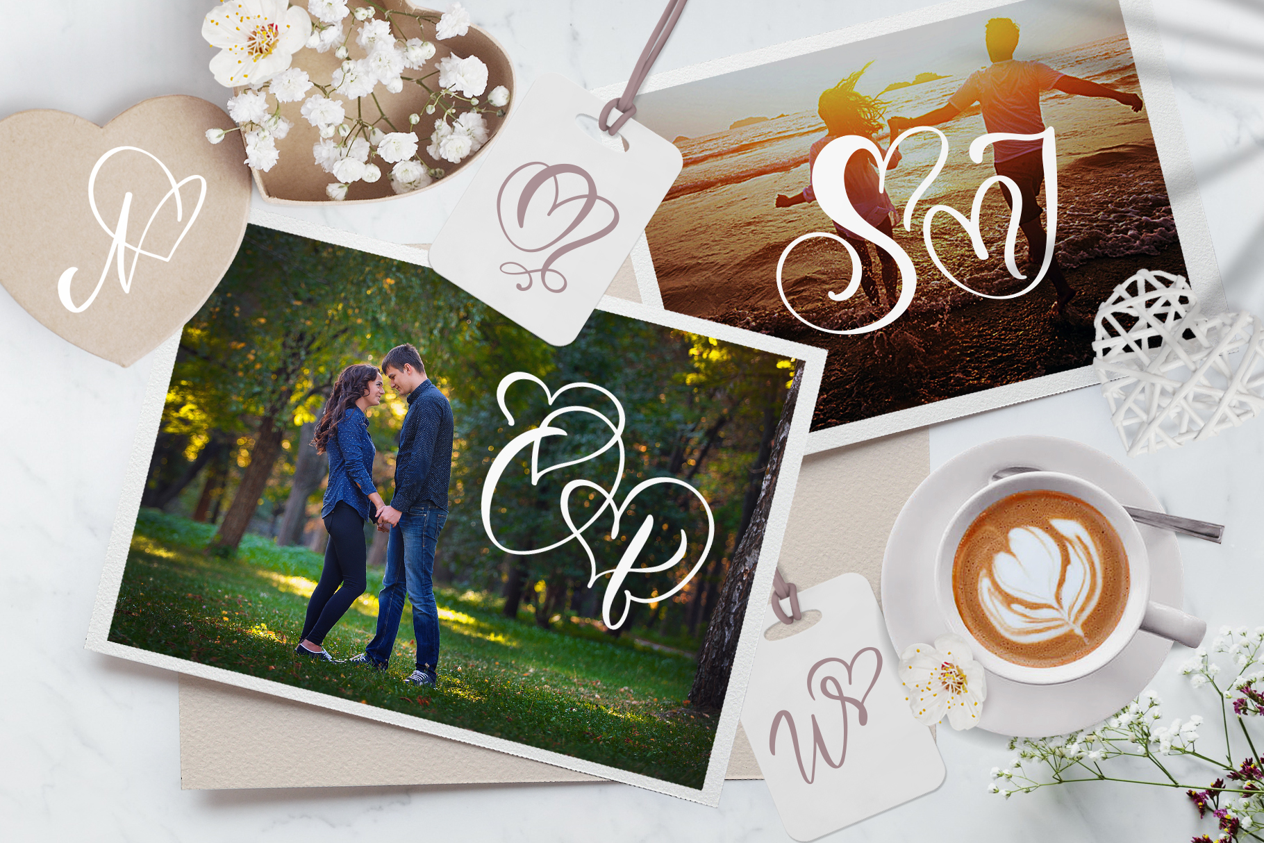 Wedding Heart Monogram Font example image 6