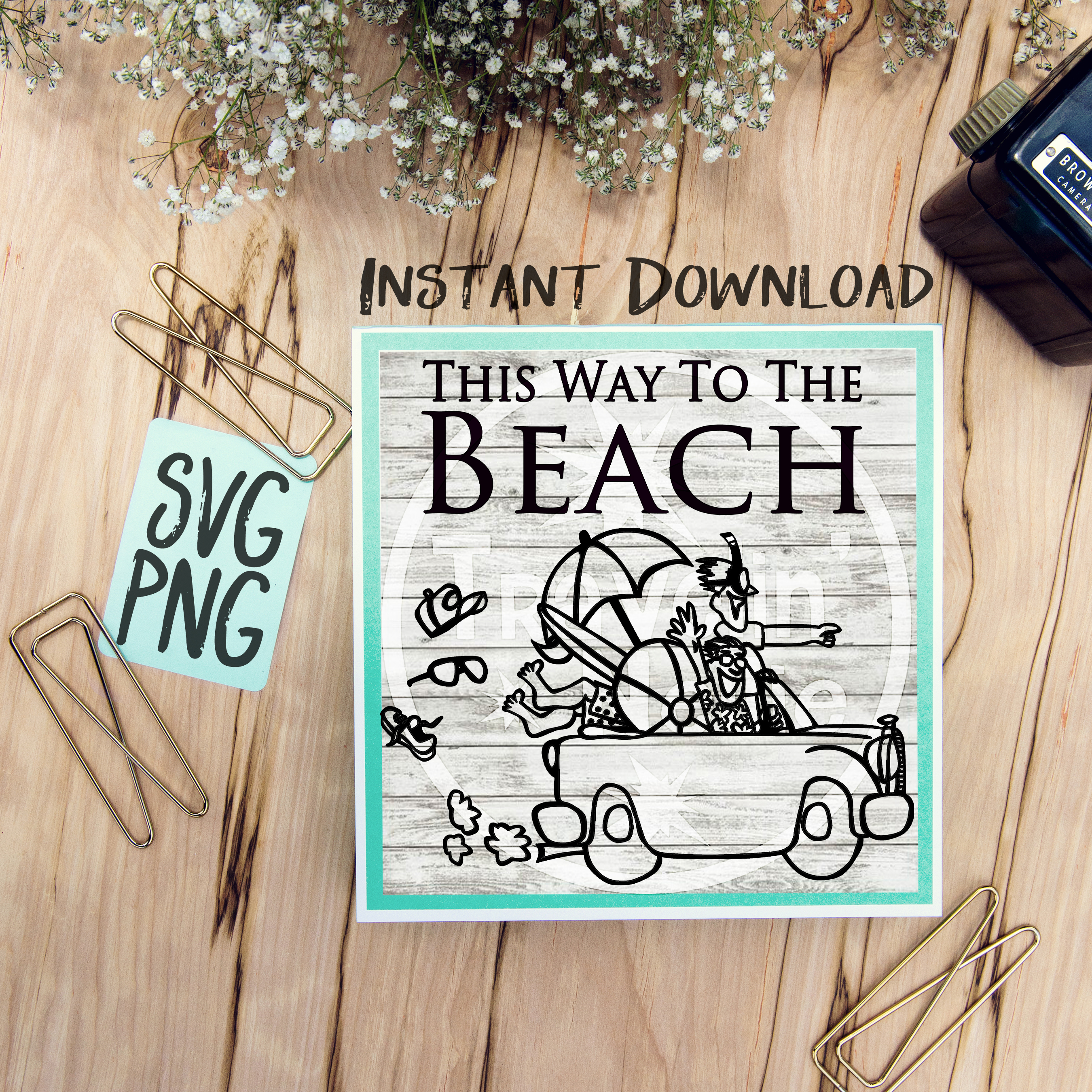 This Way To The Beach SVG Cute Beach Car Summer Time example image 1