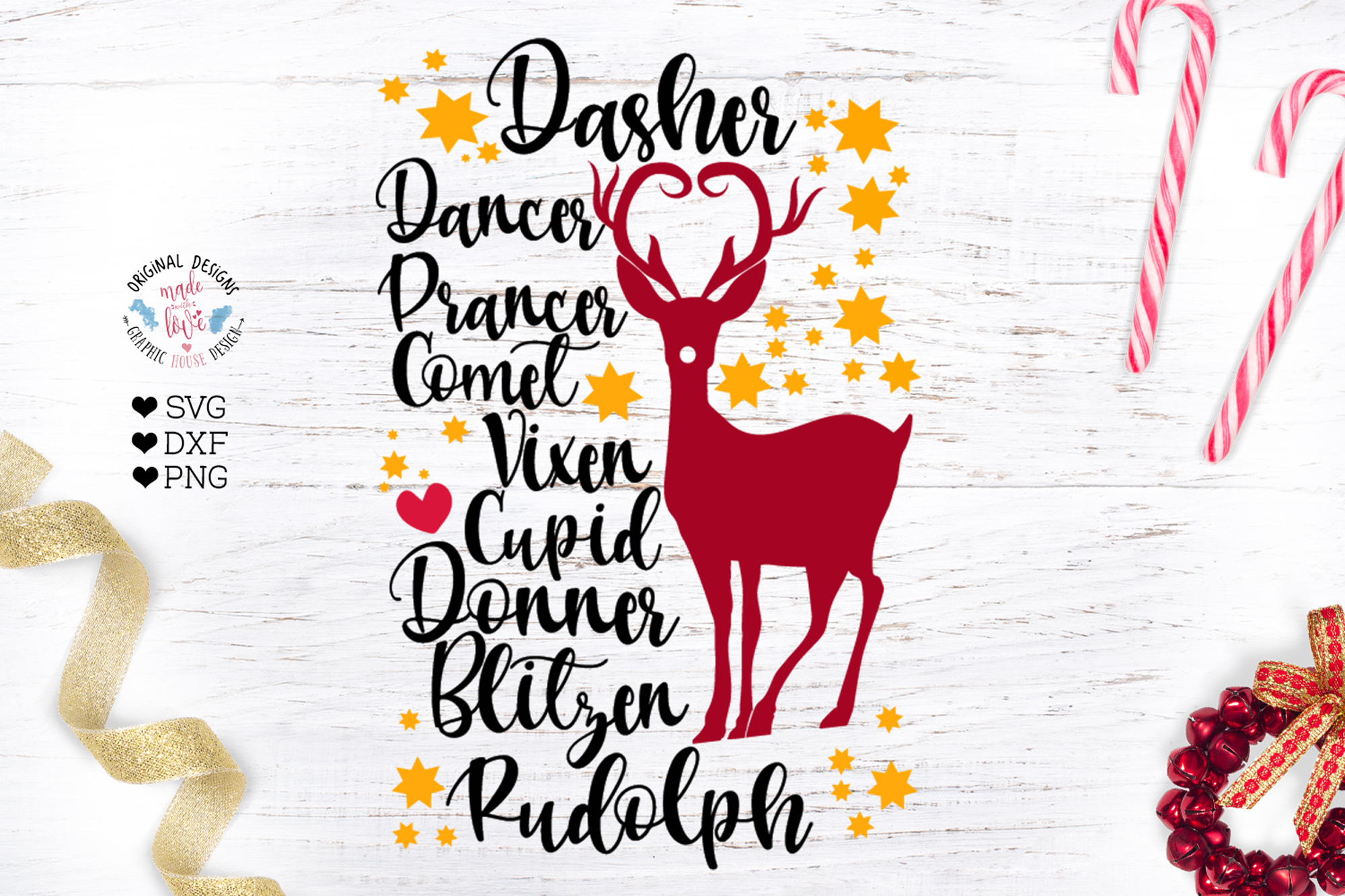 Reindeer Names Cut File example image 1