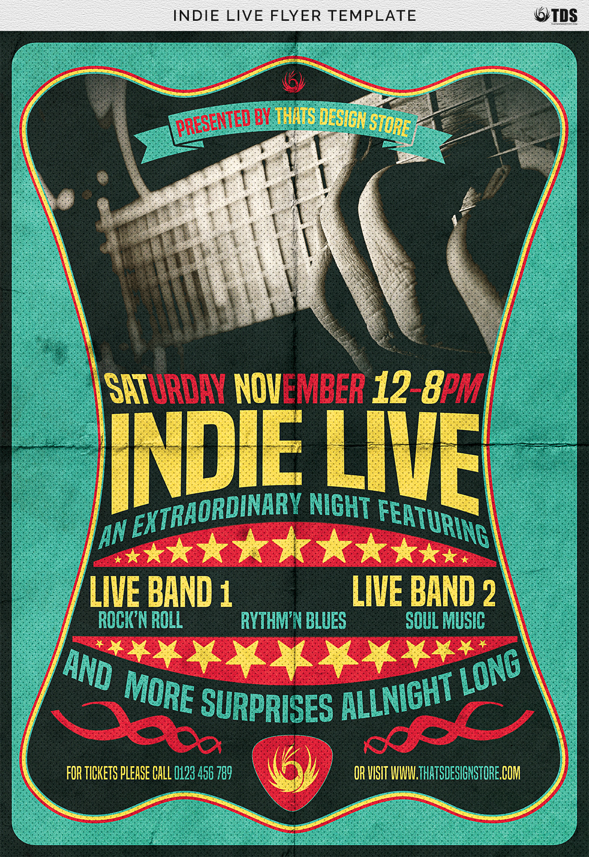 Indie Live Flyer Template example image 7