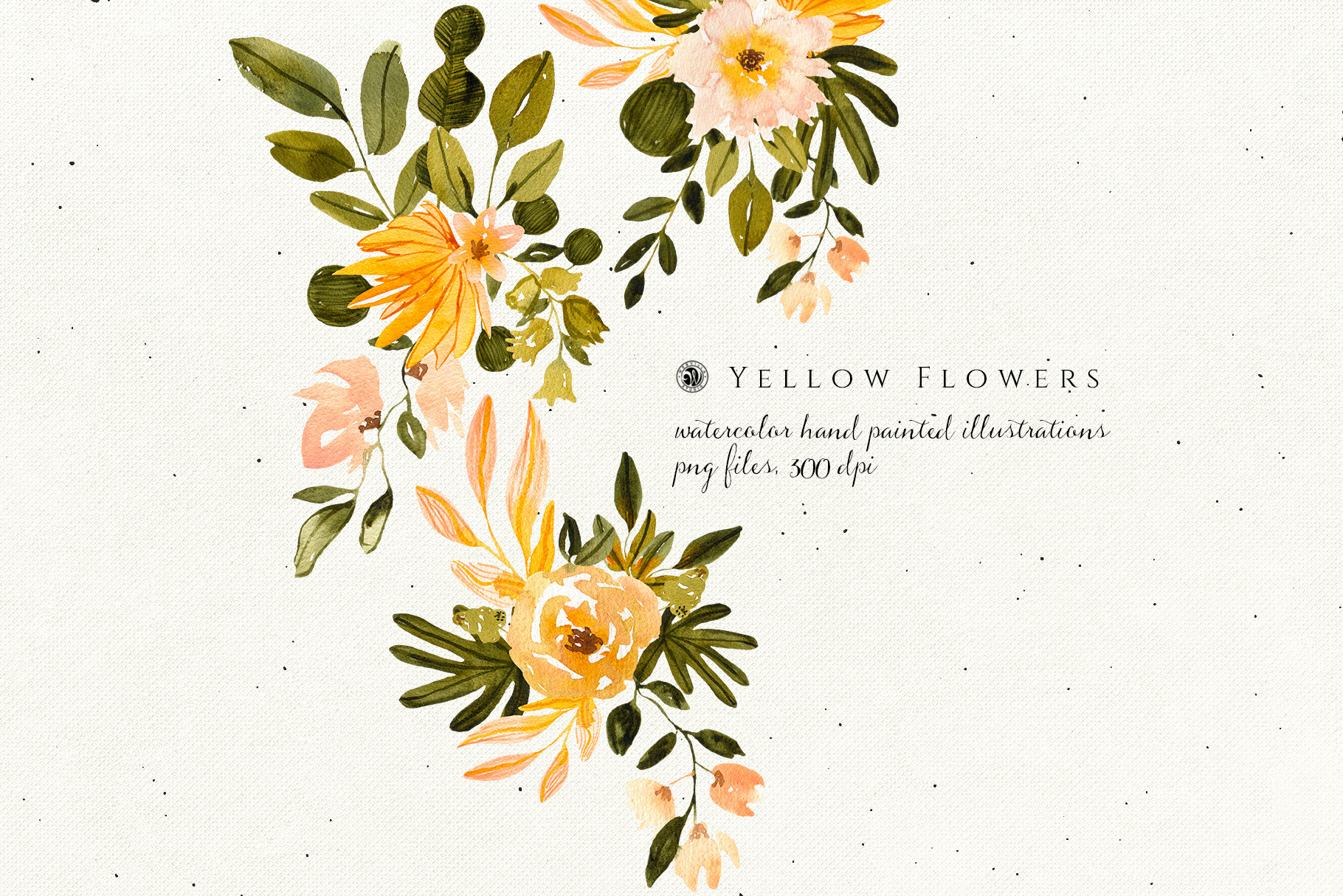 Yellow Watercolor Flowers example image 3