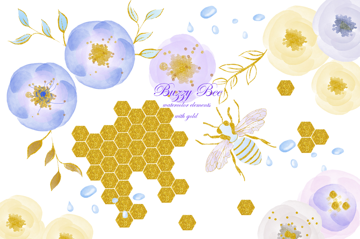 Watercolor clipart with gold. Bee, flowers, rain drops. example image 1