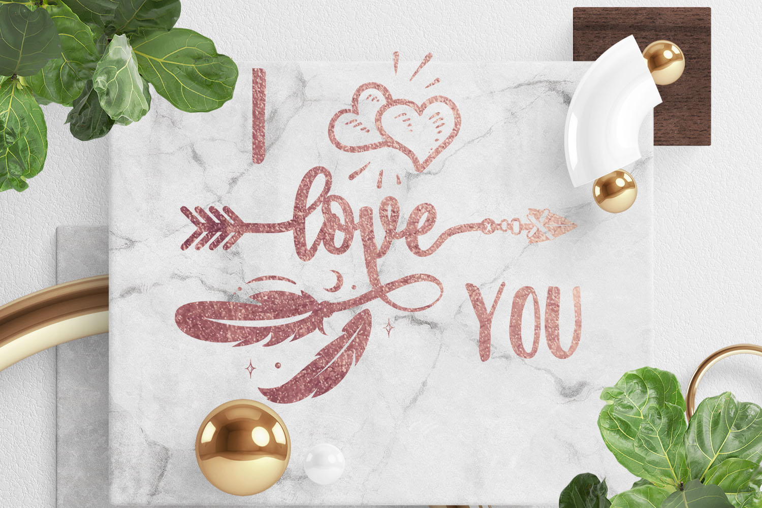 Gold rose color I Love You Quote example image 1