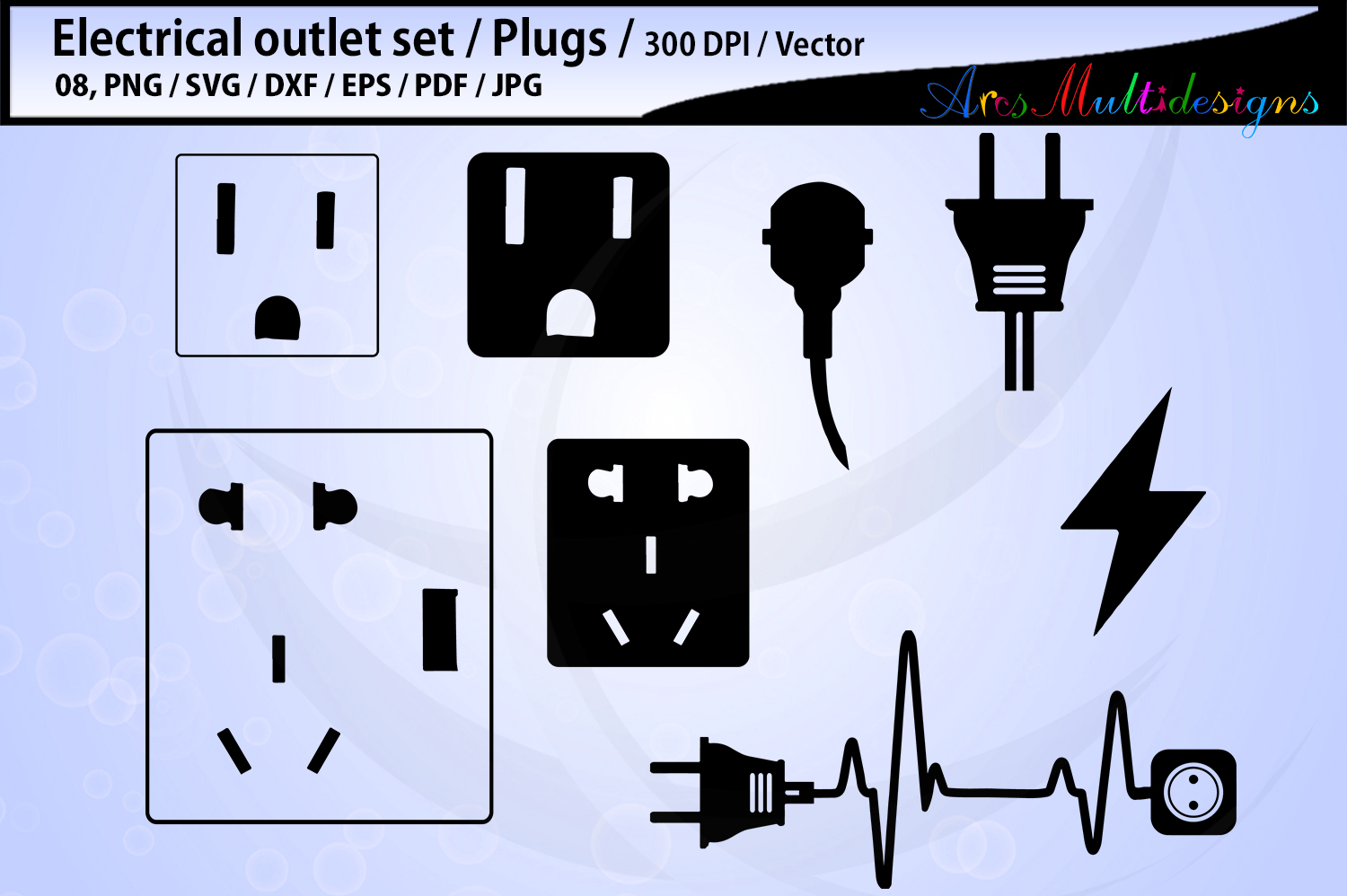 electric outlet plug electricity SVG / electric svg outline example image 1