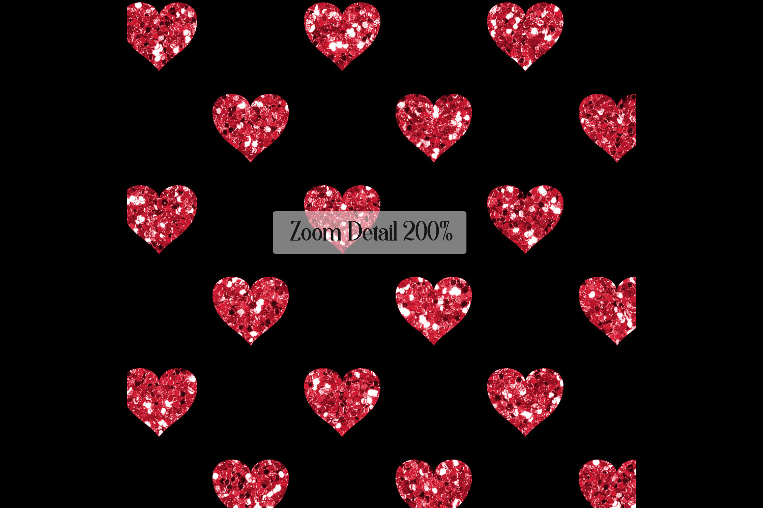 100 Seamless Black and Glitter Heart Valentine Digital Paper example image 10