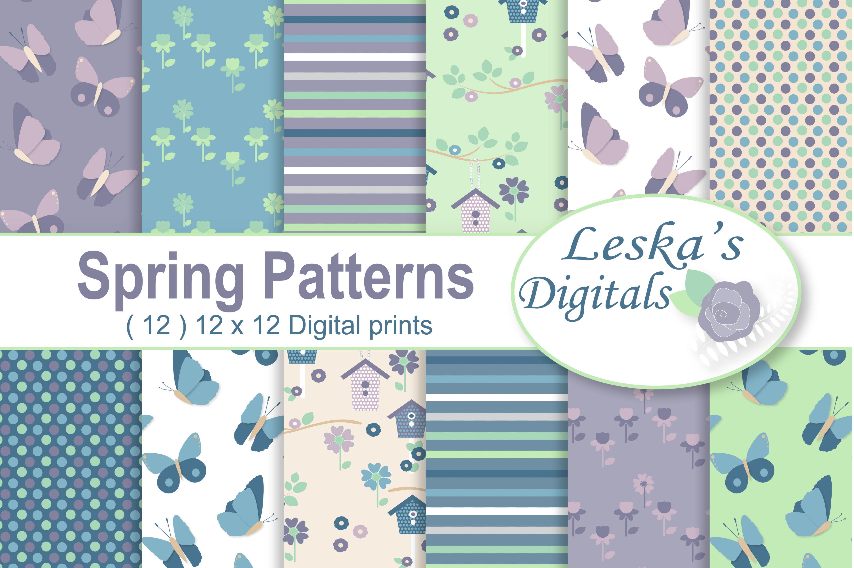 Spring Garden Digital Patterns - Digital Scrapbook Paper example image 1