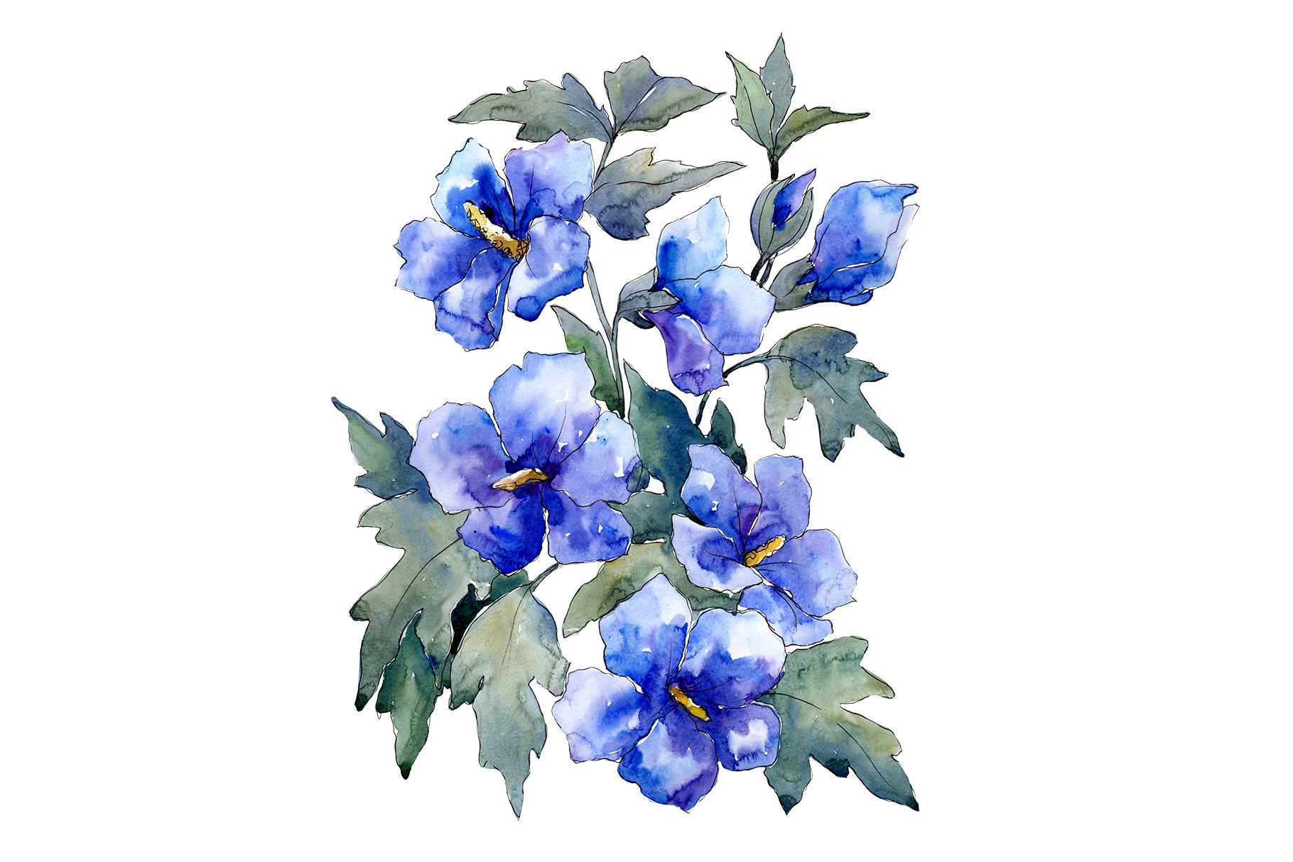Bouquet of flowers blues Nona watercolor png example image 1