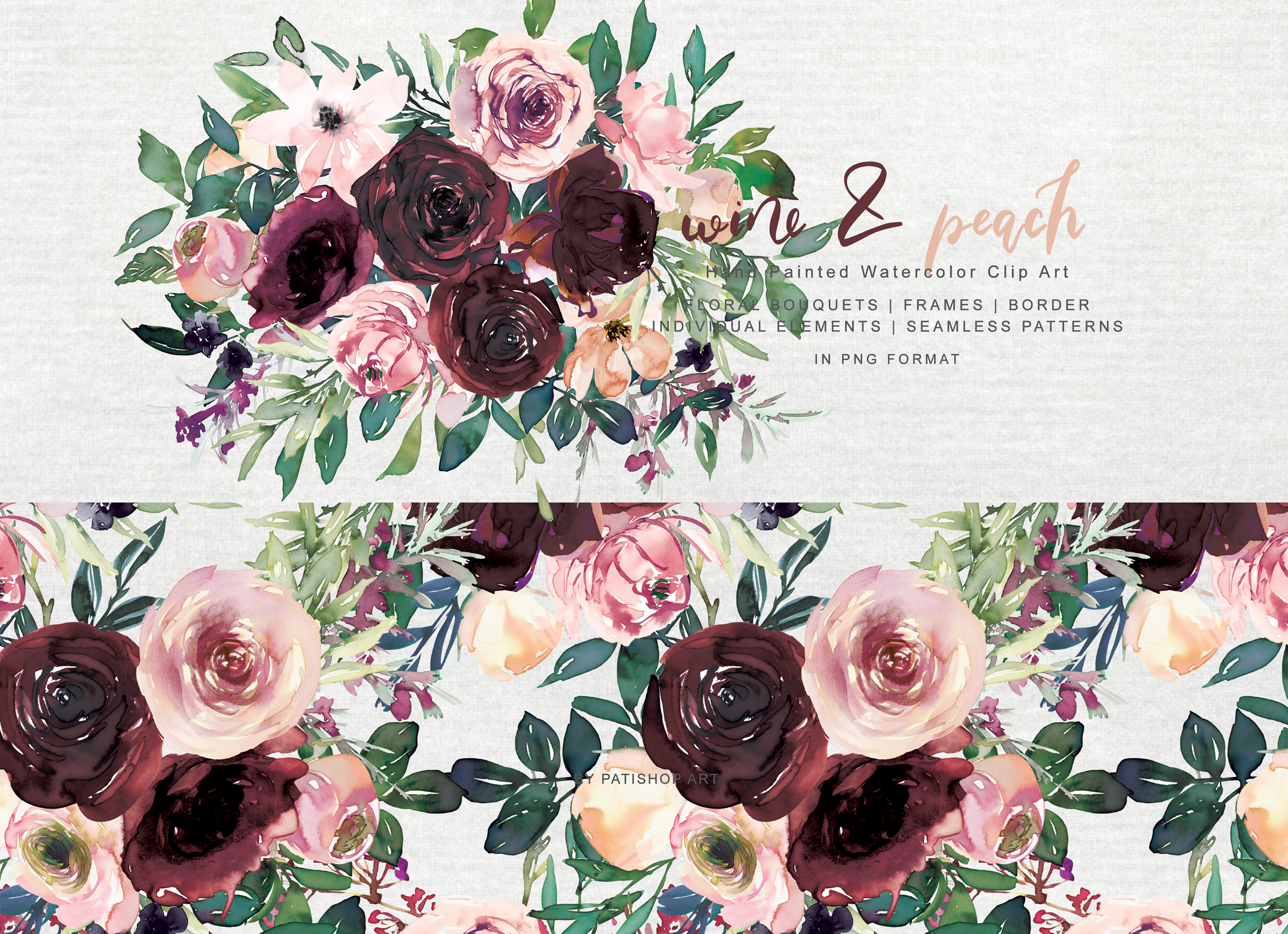 Wine and Peach Floral Bouquet Clipart example image 6