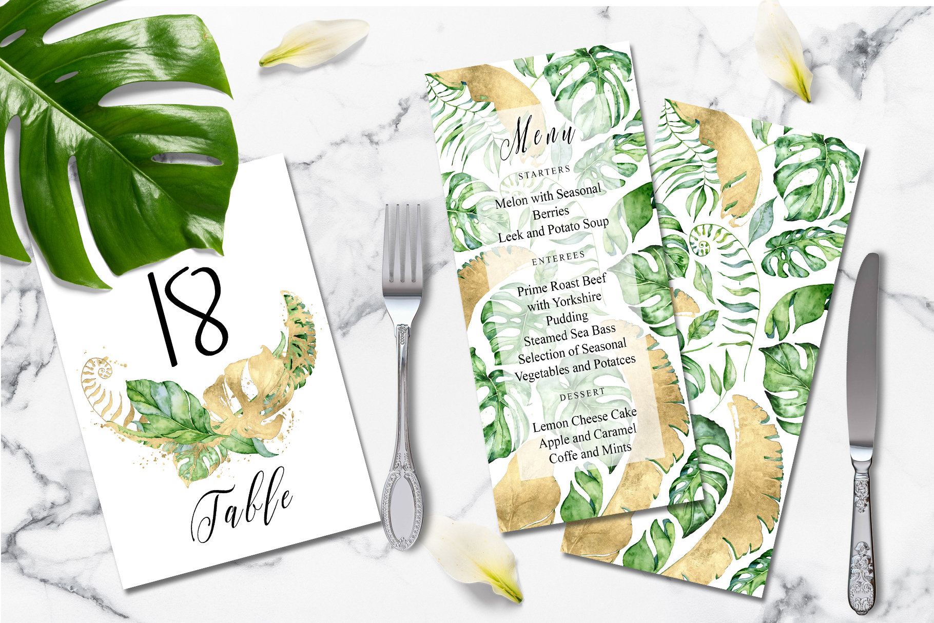 Tropical gold wedding invitation suit example image 3