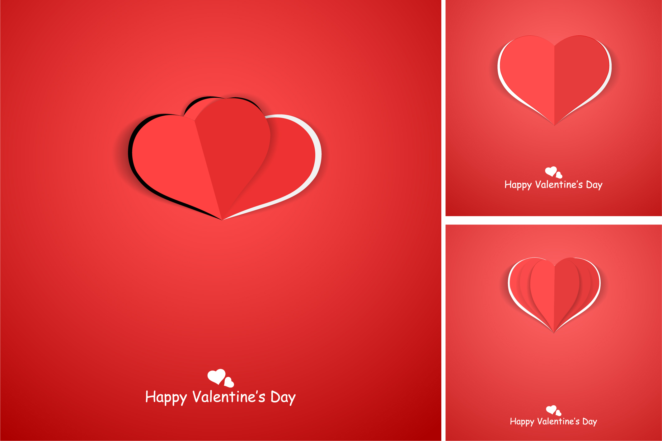 Red postcards with origami hearts. example image 6