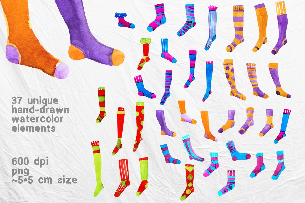 Watercolor socks set example image 2
