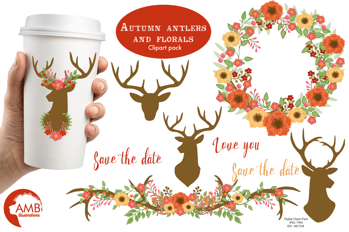 Autumn Antlers and Florals cliparts, graphics and illustrations AMB-1488 example image 1