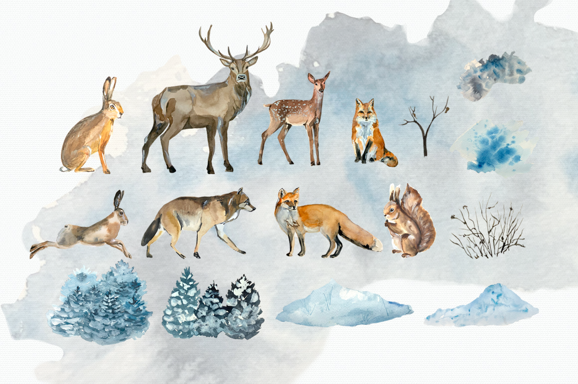 Watercolor Winter Woodland Clip Art Set example image 3