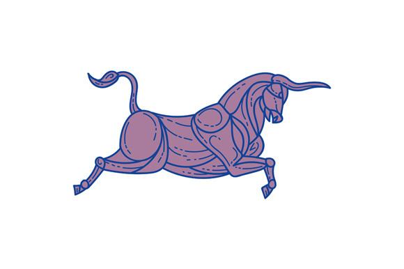 Texas Longhorn Bull Charging Mono Line example image 1