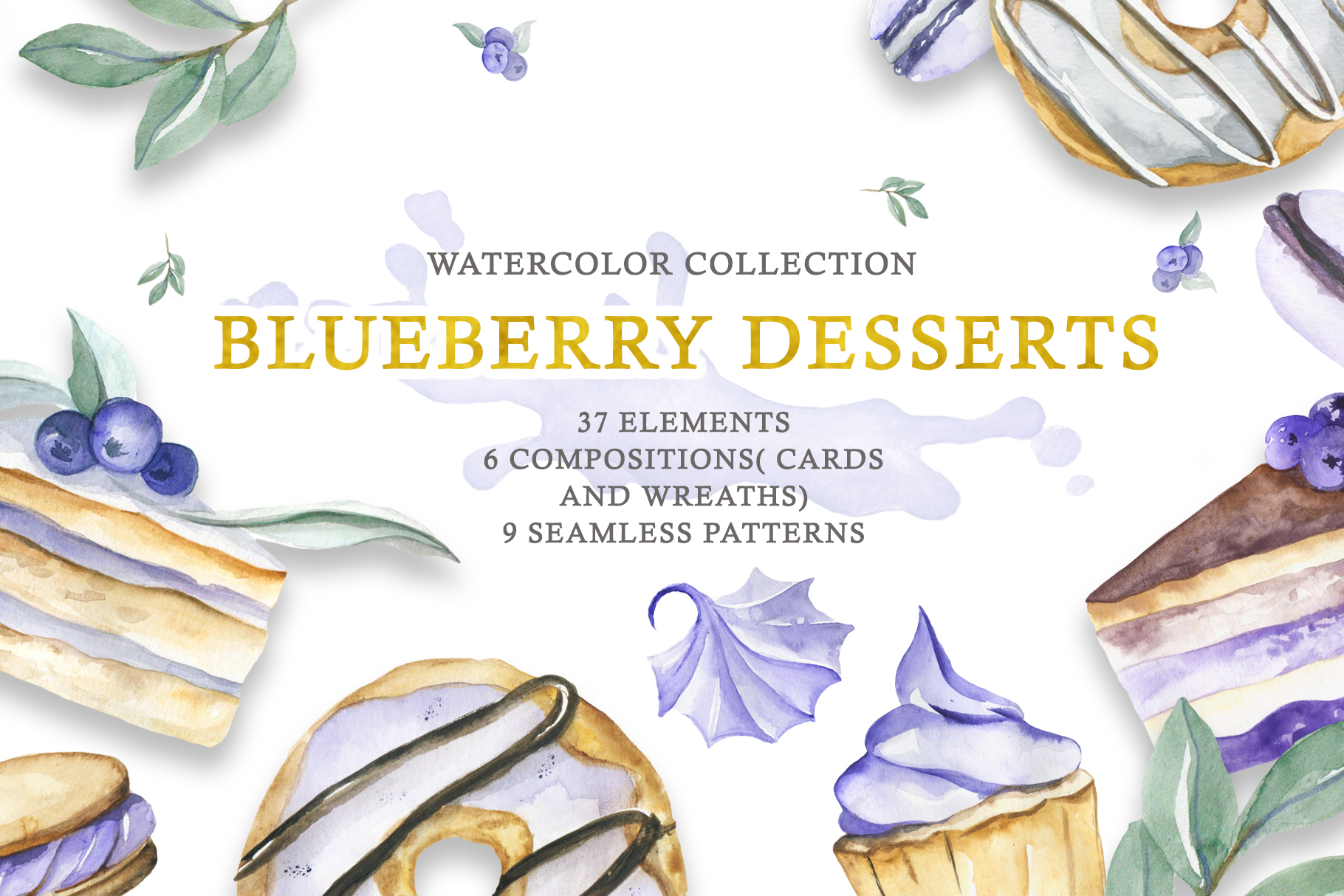 Watercolor collection of Blueberry Desserts example image 1