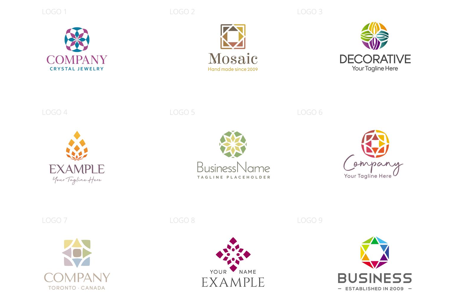 Mosaic & Fragmental Logo Design Set example image 2