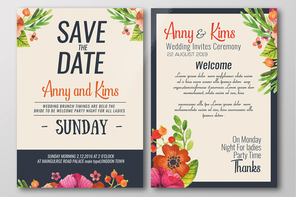 Double Sided Save The Date Wedding Invites Template example image 2