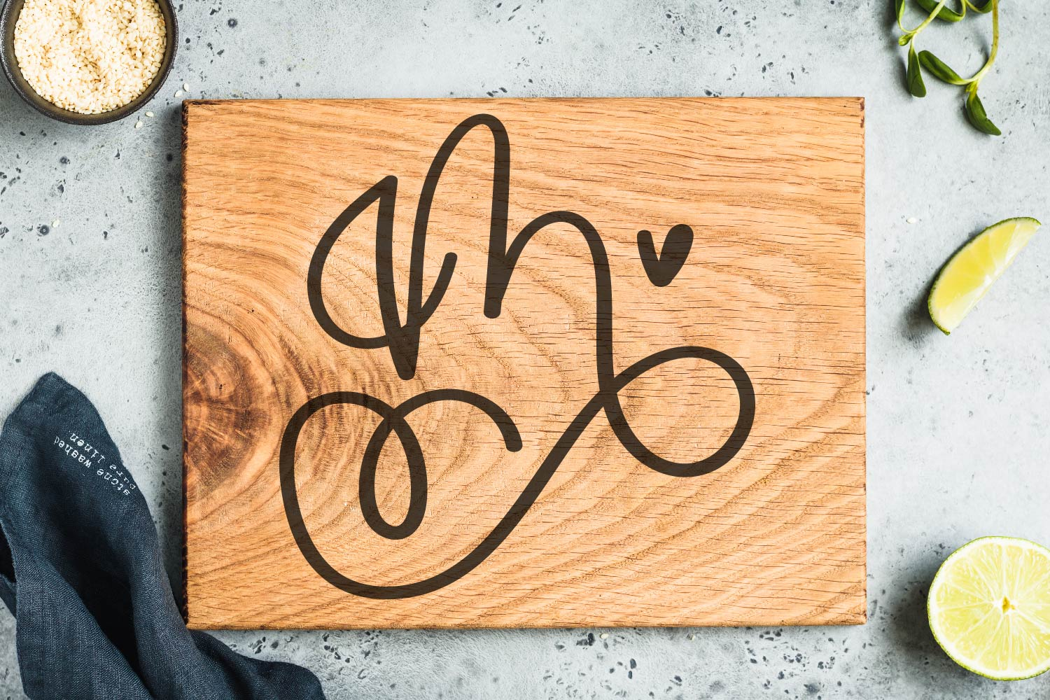 Scripty Monogram Font - With heart accents example image 9