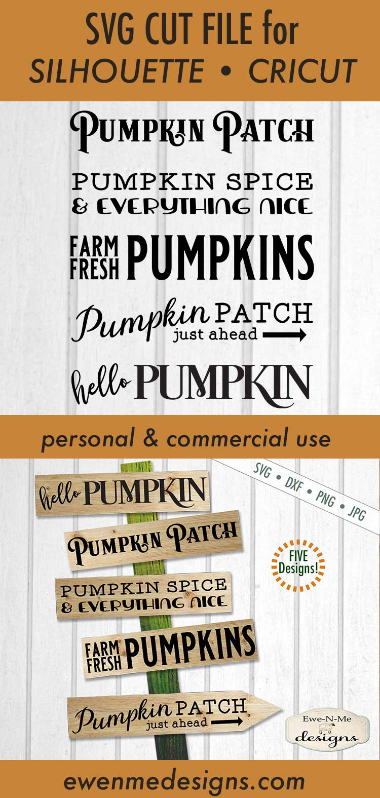 Pumpkin Sign Bundle - Horizontal Pumpkin Patch - SVG example image 3