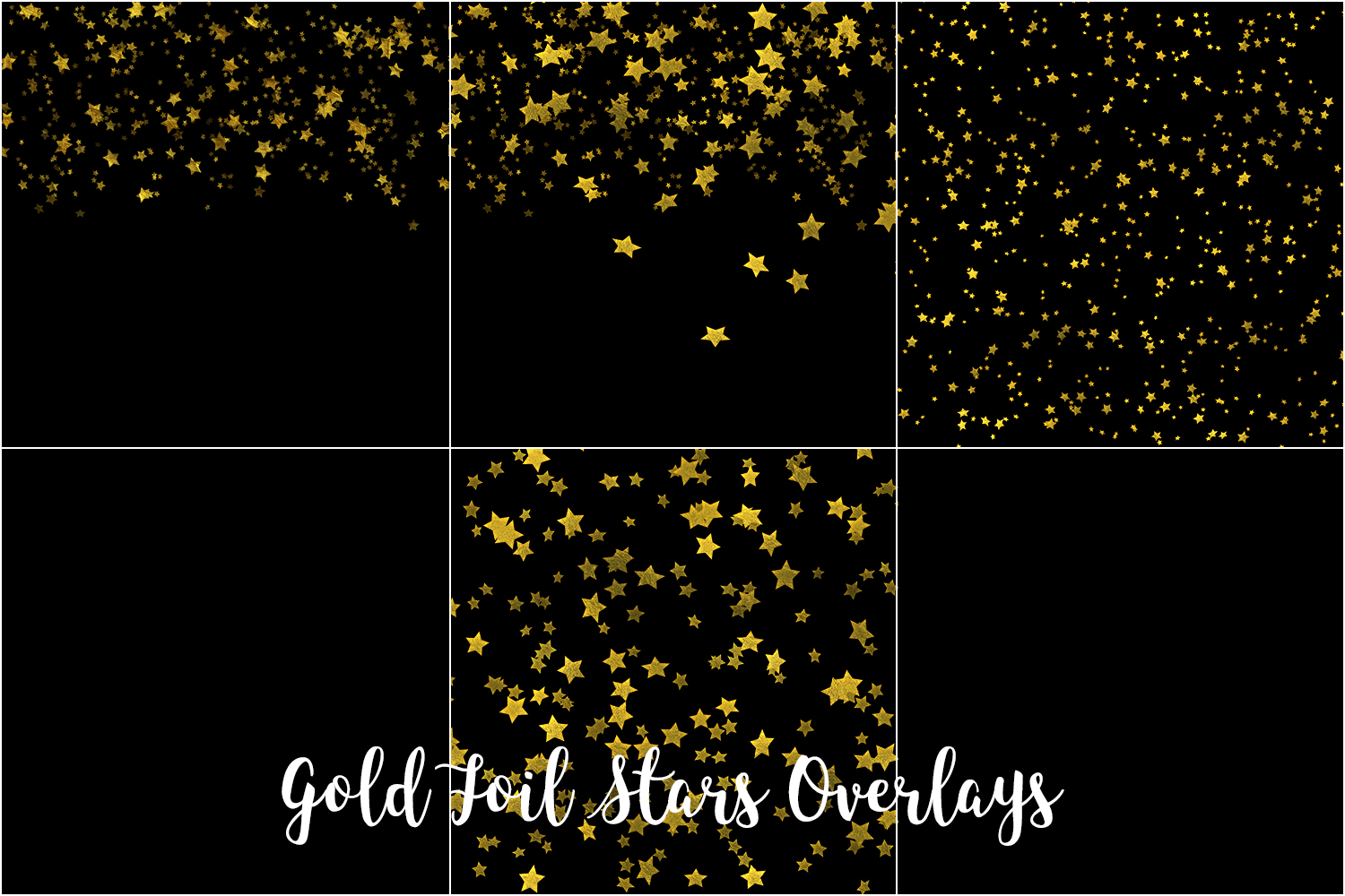 Gold Foil Stars Overlays, Gold Stars Confetti example image 2