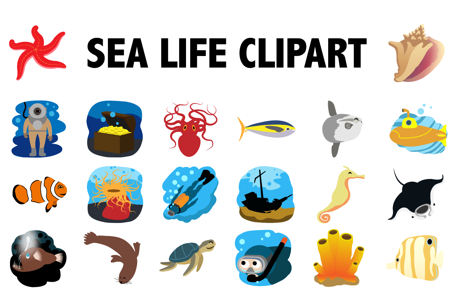 Sea Life Clipart example image 1