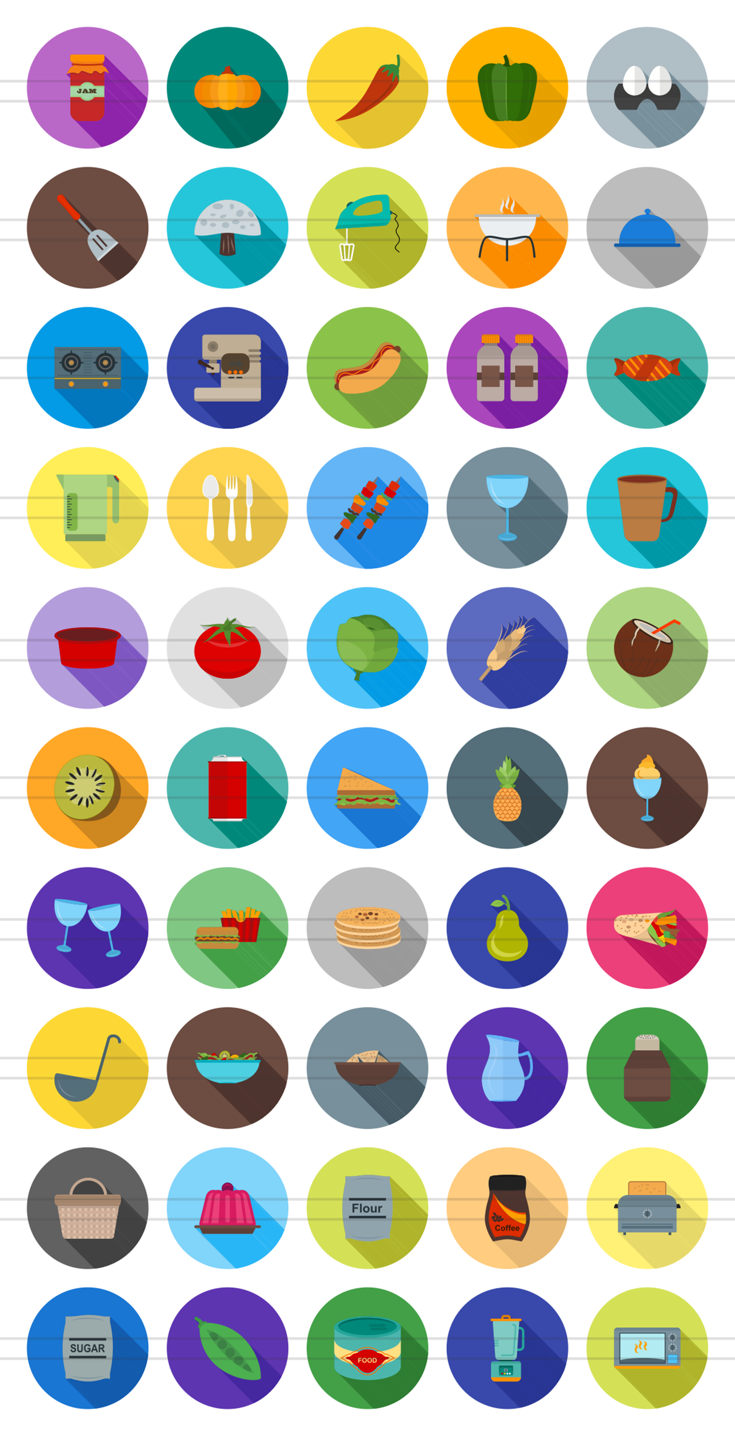50 Food Flat Long Shadow Icons example image 2