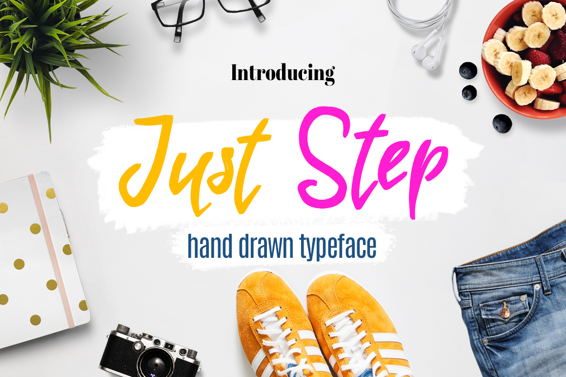 Just Step Typeface - Hand Drawn Font example image 1