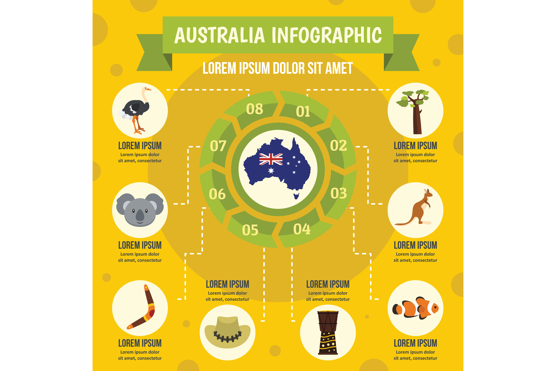 Australia infographic concept, flat style example image 1