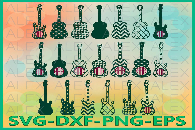 Guitar Svg, Guitar Cricut Cut Files, Guitar Monogram Svg example image 1