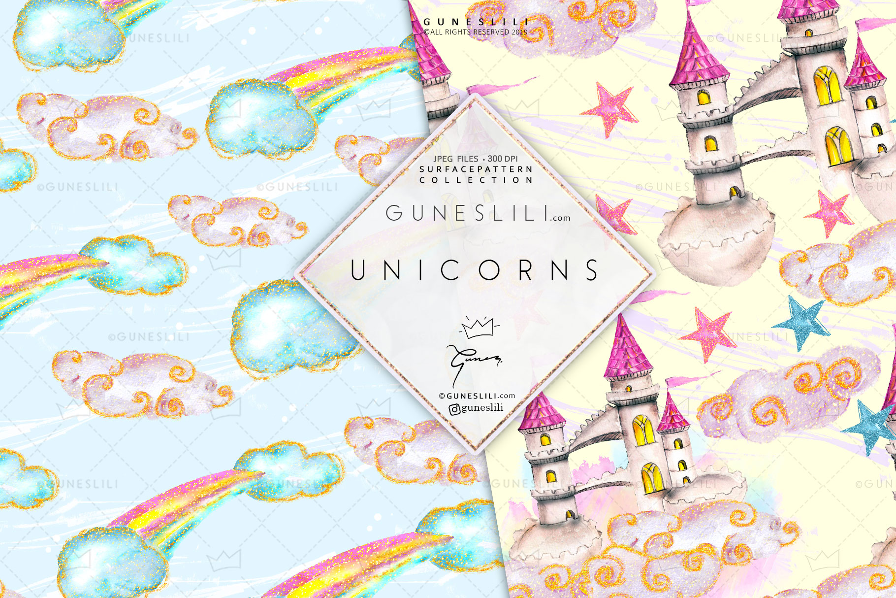 Pastel Unicorn Digital Pattern Pack Watercolor example image 4