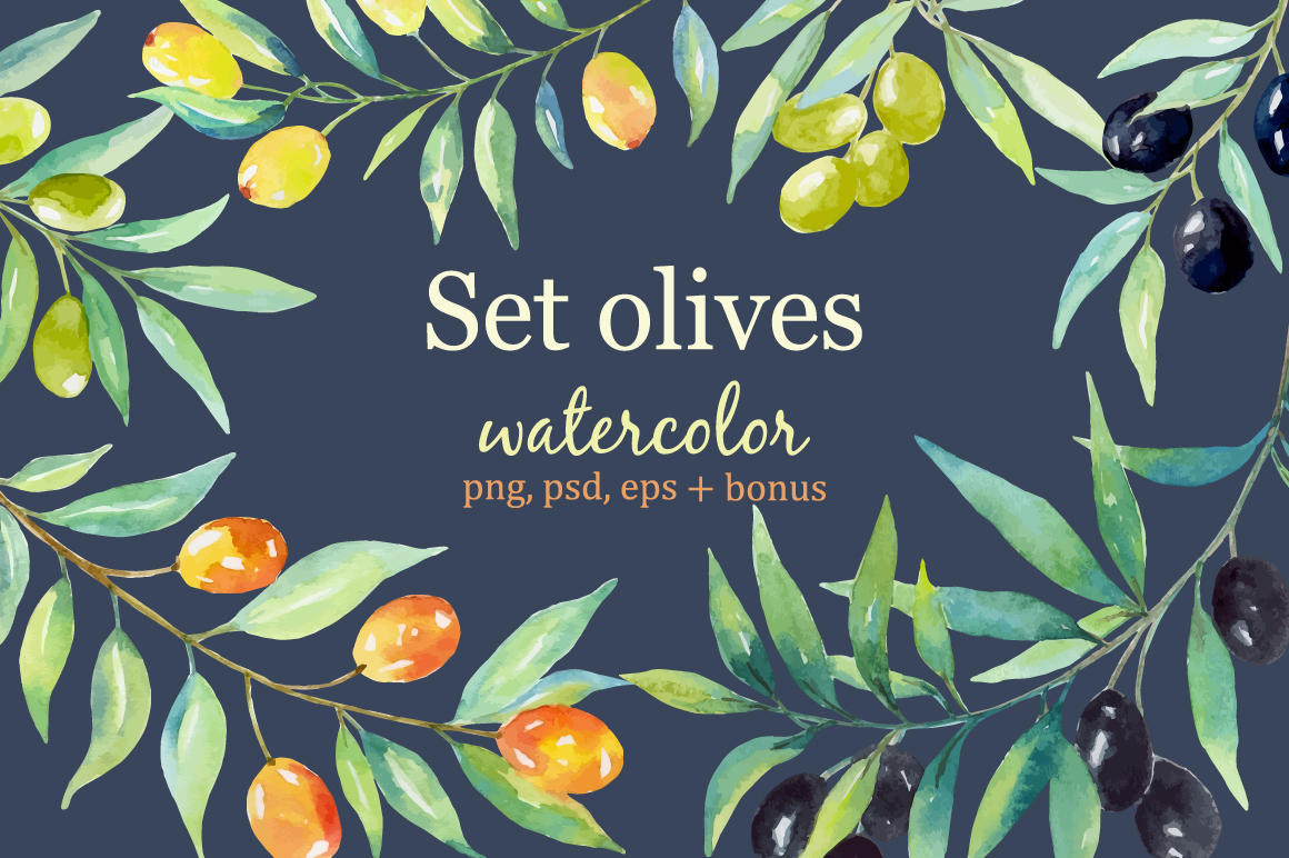 Olive set. Watercolor collection. example image 1