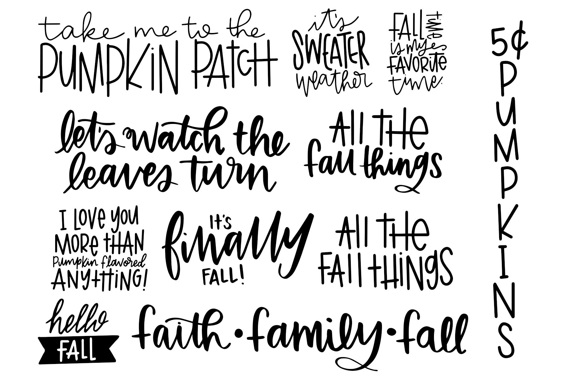 Fall Phrases Symbols Font example image 4