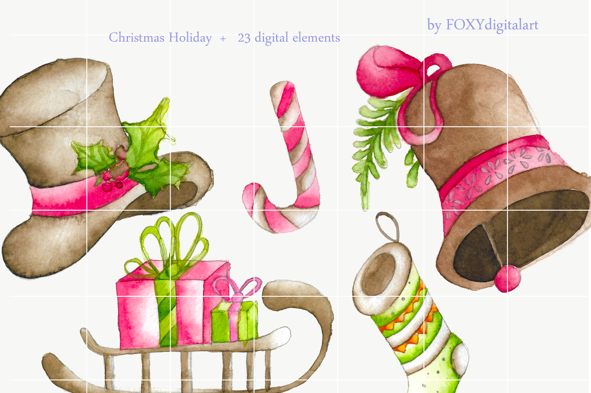 watercolor christmas clipart holiday example image 3