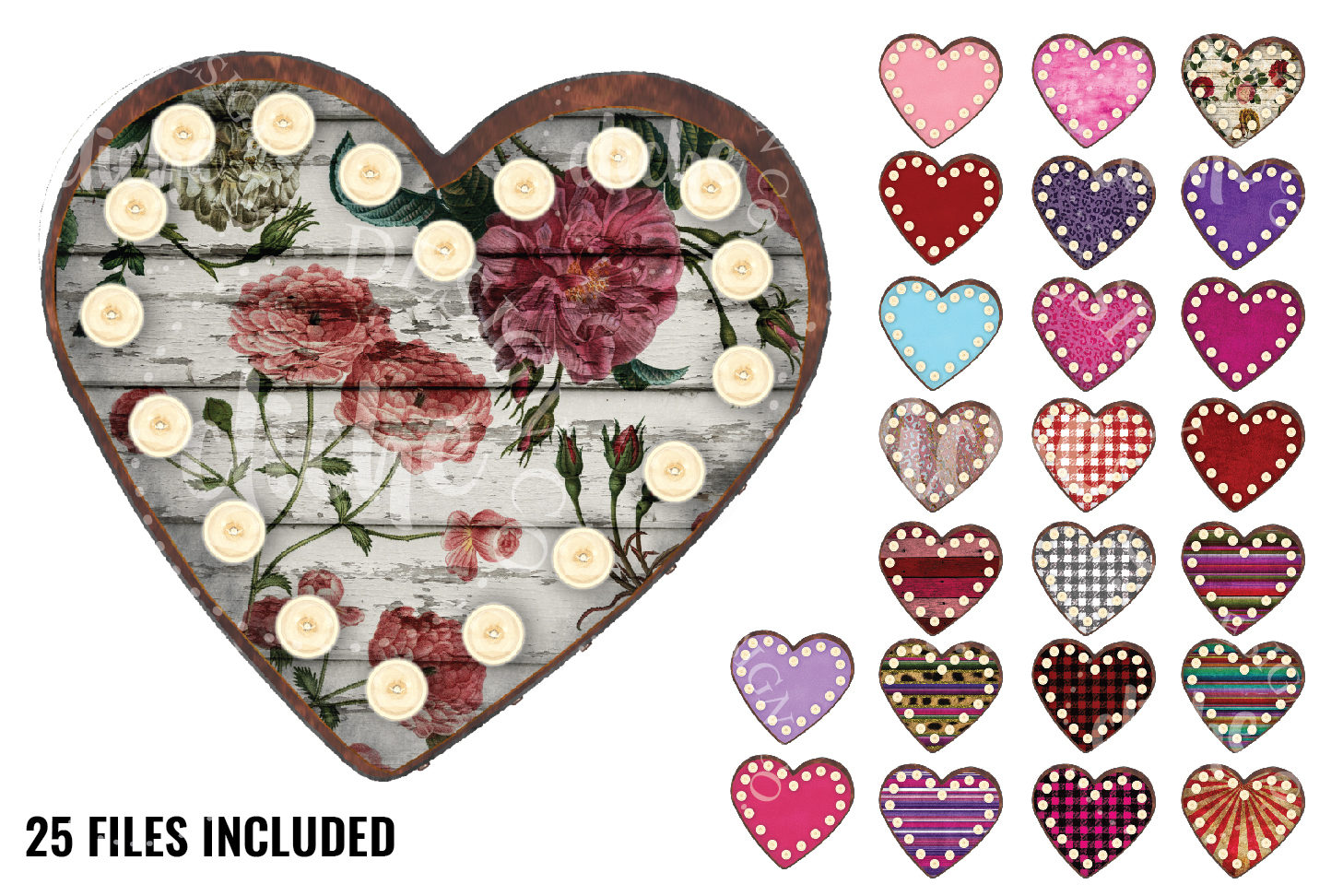 Marquee Heart Sublimation Design Set example image 1