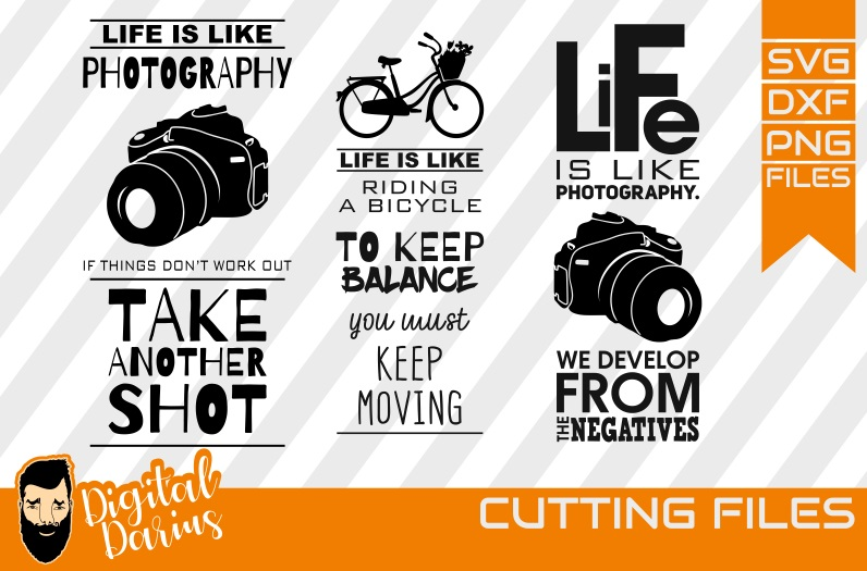 3x Life is like a Camera svg, Photographer svg, Bicycle svg example image 1