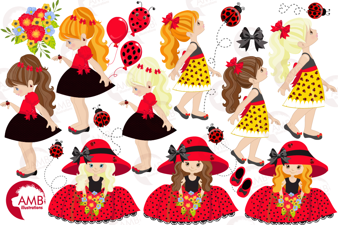 Sweet little ladies graphics, clipart, illustrations AMB-1056 example image 4