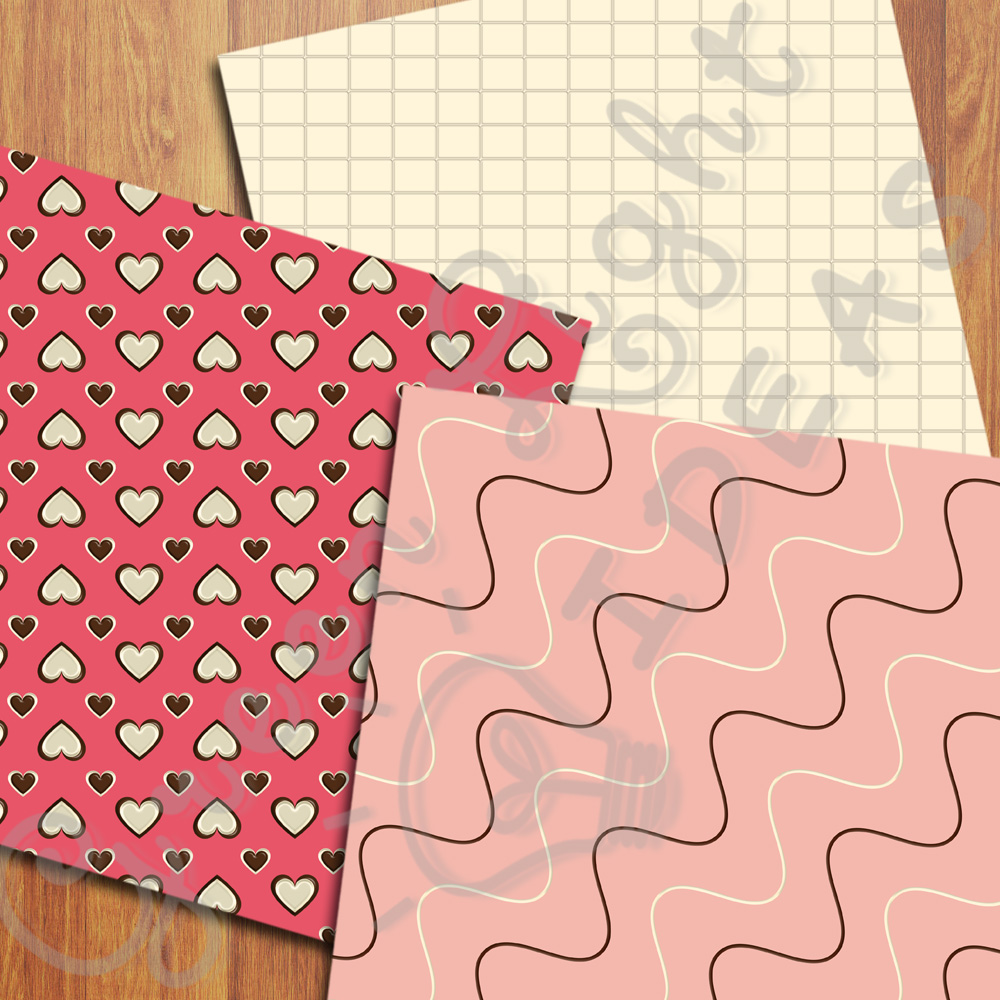 Sweet Valentine Digital Papers, Valentine's Day Backgrounds, Love Scrapbook Papers  example image 4