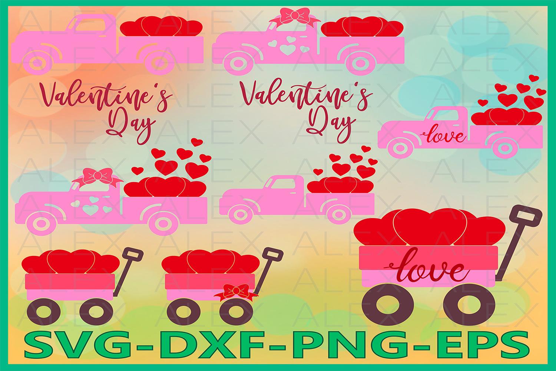 Valentines vintage Truck Svg, Truck Svg, Valentine's day svg example image 1