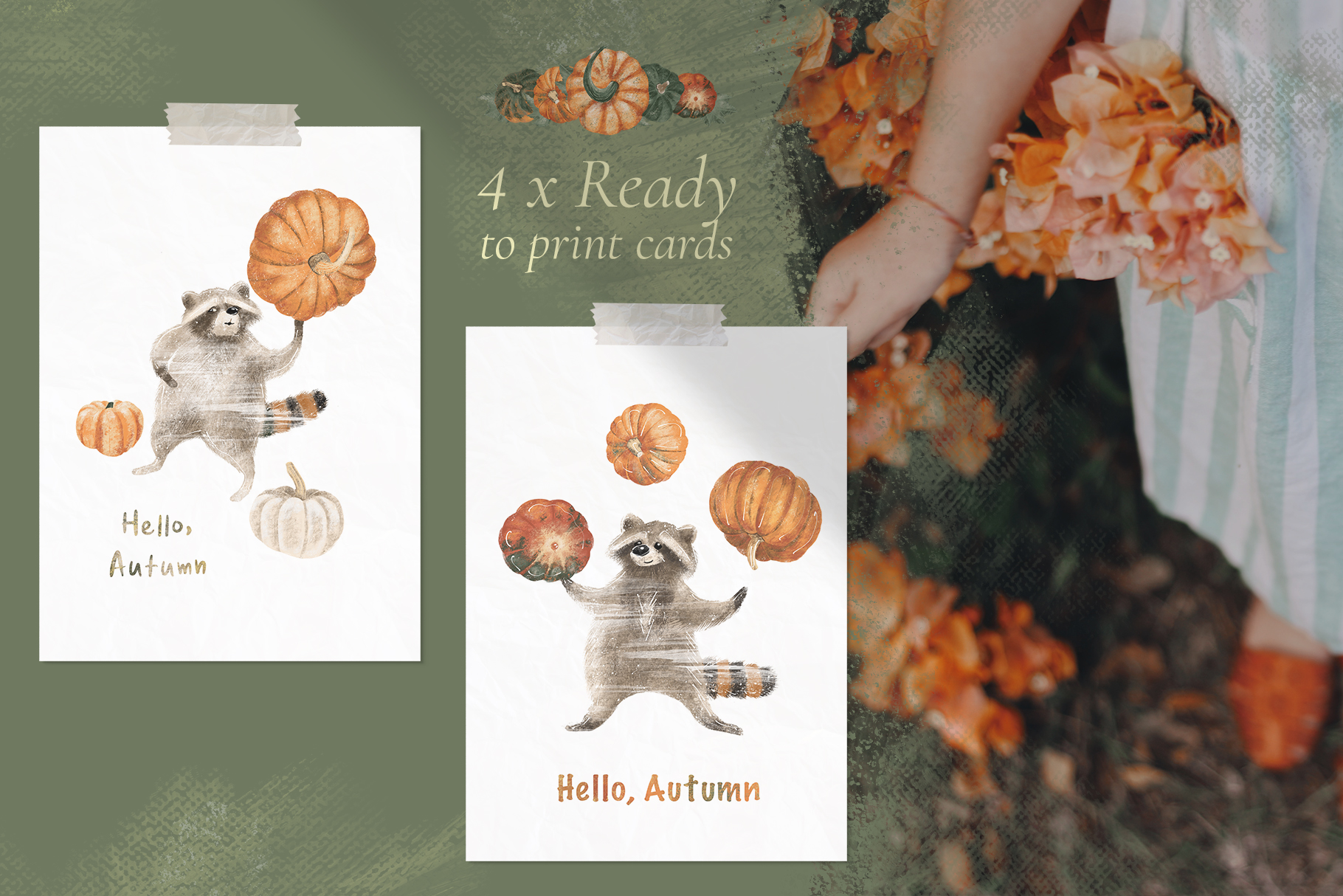 Ready to print autumn posters with cute raccoons and pumpkin example image 3