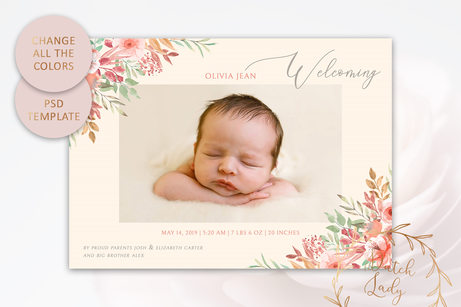 PSD Birth Announcement Card Template - Design #1 example image 3